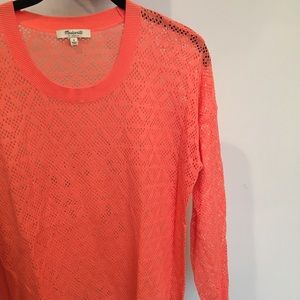 Madewell Salmon Lace Long Sleeve Top size S